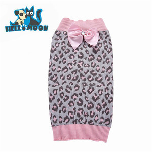Pink Leopard Bowknot Beautiful Xxxl Dogs Pet Sweater For Pet Dogs