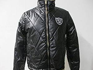 Oakland Raiders Womens Medium and Large Embroidered Full Zip Quilted/Faux Fur Reversible Jacket ARAD 92