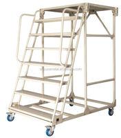 Warehouse Steel Safety Rolling Mobile Platform Ladder with Handrails