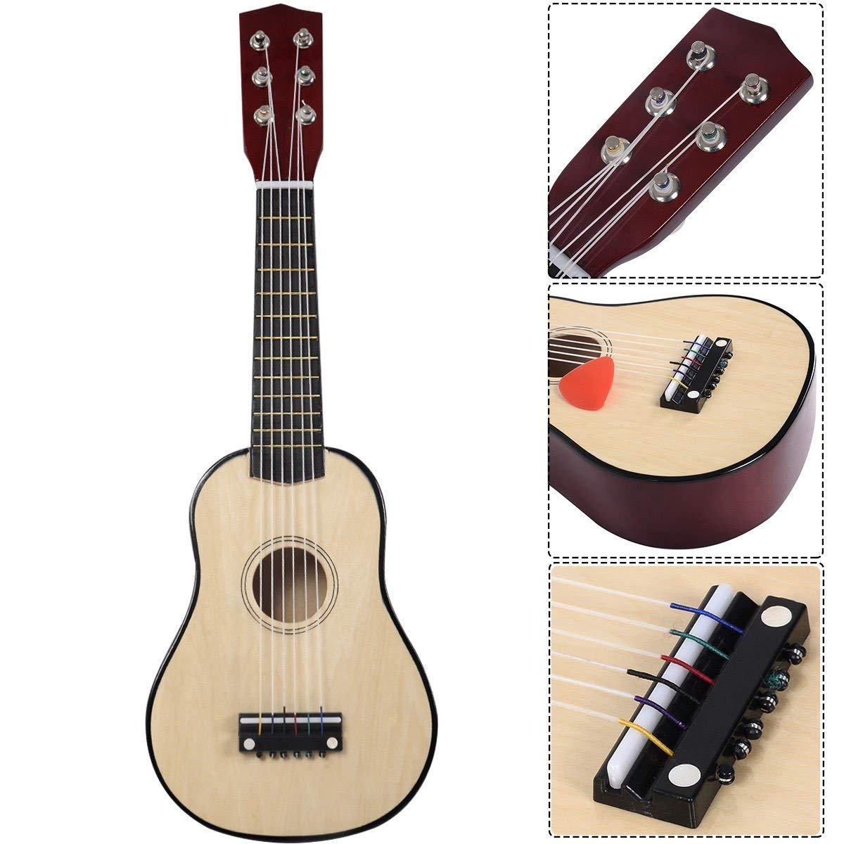 """25"""" Beginners Kids Acoustic Guitar 6 String with Pick Children Kids Gift (Tan)"""