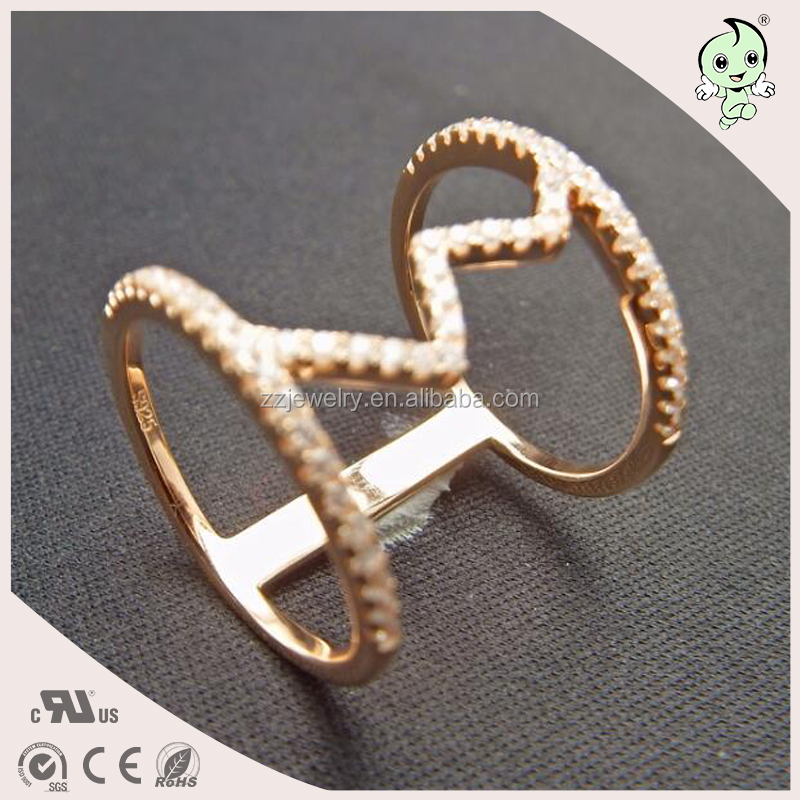 Europe Style Finger Aceesoriess Plating Rose Gold Fancy 925 Sterling Silver Ring