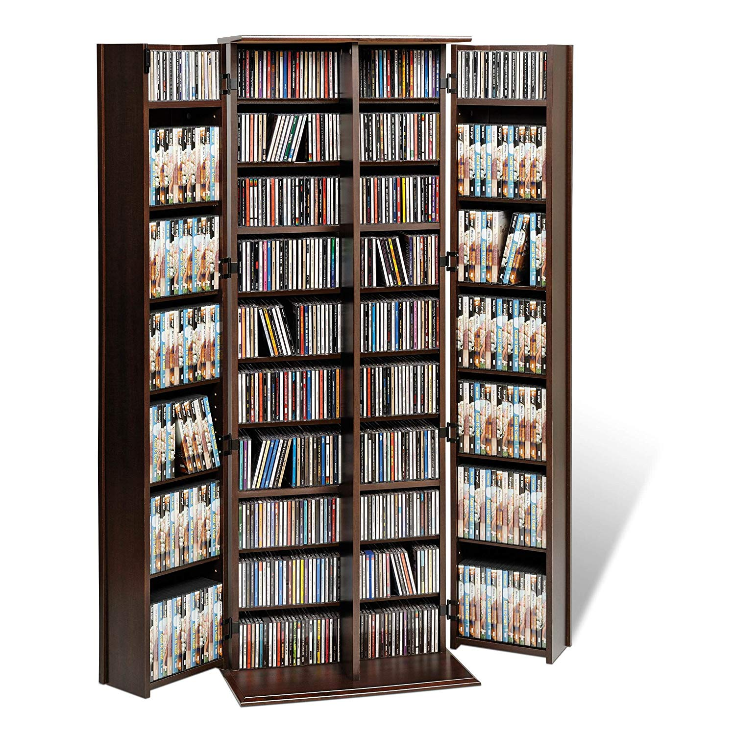 Classy Indoor Grande Locking Media Storage Cabinet with Shaker Doors, Traditional Style And Practical Function, Fully Adjustable Shelves, Locking Doors, Wood Construction, Espresso Finish