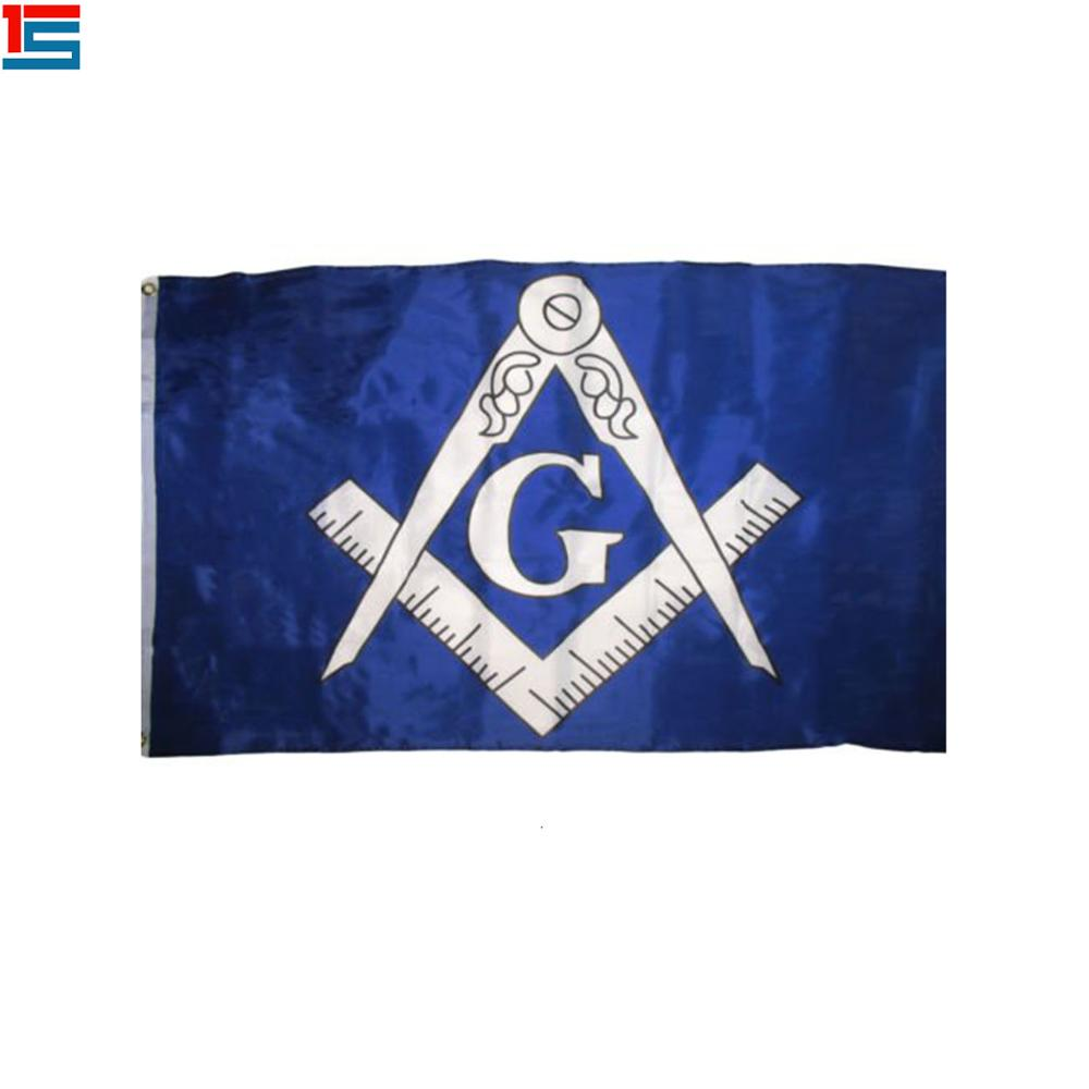 3x5 Blue and Gold Masonic Lodge Mason Freemason Flag 3'x5' hand scroll banner