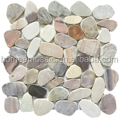 Grey mix color Pebble stone mosaic tile in irregular size for indoor or outdoor decoration with nature feeling
