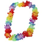 Multi color Tropical Flower Lei Garland Flower Leaves Banner for Hawaiian Luau Decorations