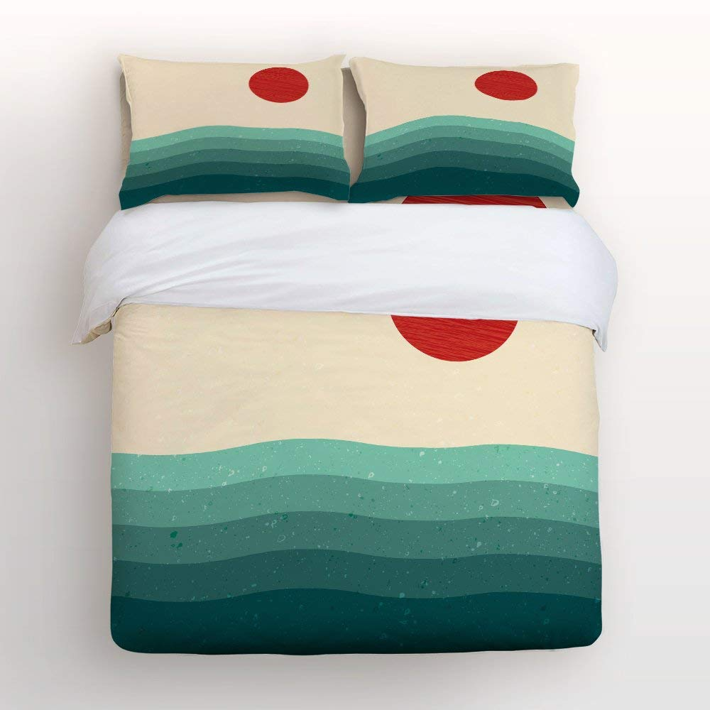 Vandarllin Duvet Cover Set Full Size,Sunrise Sea Beach Printed, Decorative 4 Piece Bedding Set With 2 Pillow Cases Covers For Childrens/Kids/Teens/Adults,Red&Aqua Green&Yellow