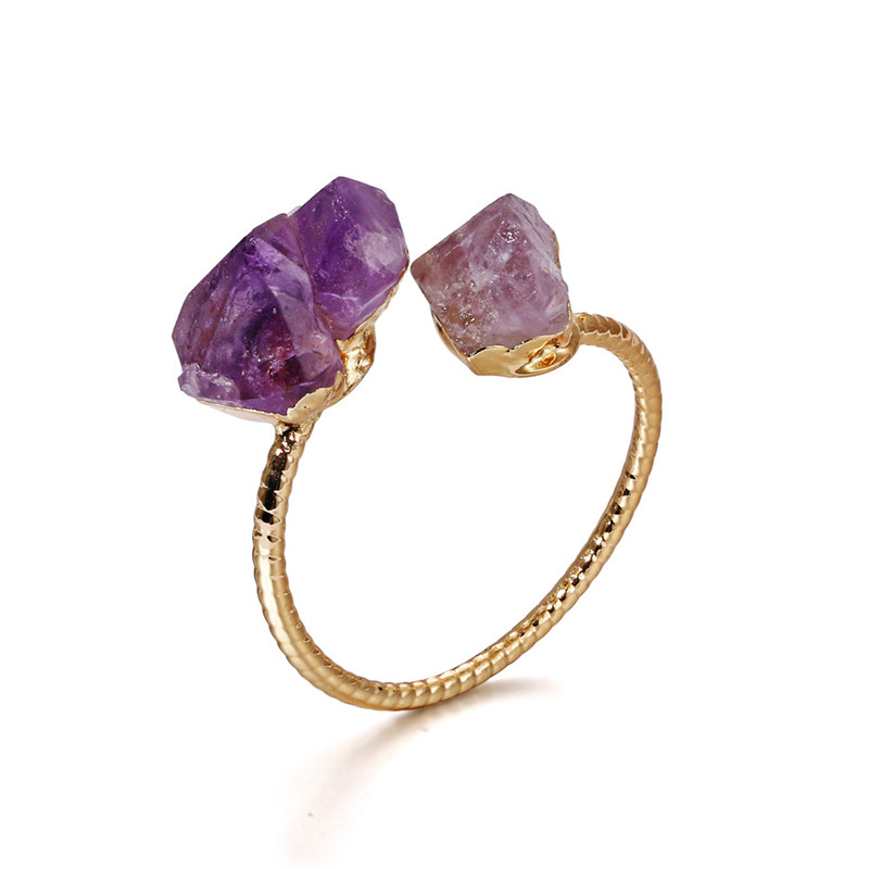 Wholesale Natural double agate druzy <strong>ring</strong> in 24k gold plated adjustable fashion amethyst druzy <strong>rings</strong> for women jewelry