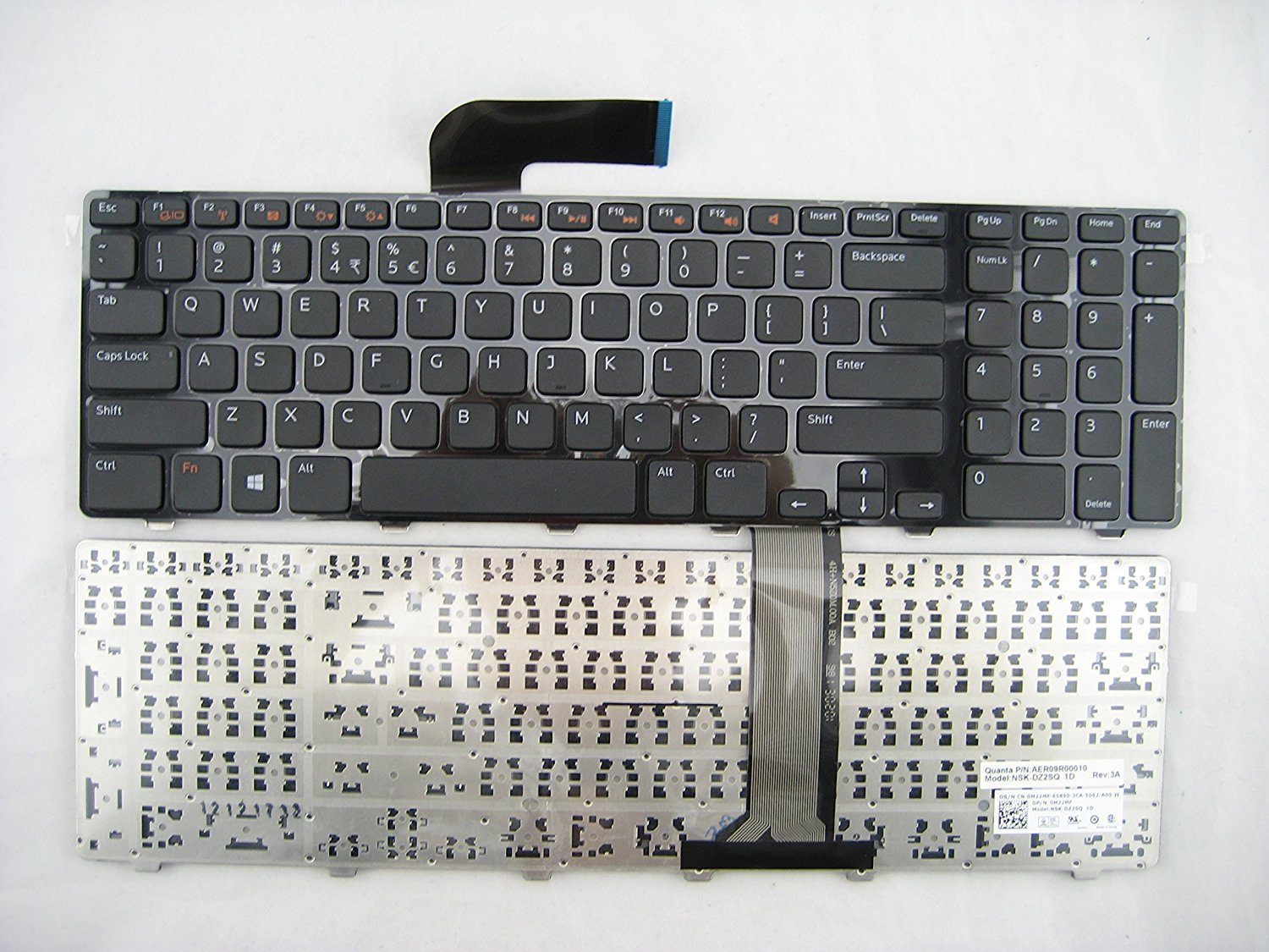 LotFancy Laptop replacement keyboard for Dell Inspiron 17 17R N7110 Vostro 3750 XPS 17 L702X 454RX 0454RX 5720 7720 fit part number: 454RX 8XN0P 9GTY3 09GTY3 O9GTY3 O8XN0P 08XN0P AEGM7U00120 M22MF OM22MF V119725AS1 AEGM7U00030 AEGM7R00030 9Z.N5ZSQ.21D NSK-DZ2SQ 1D AER09R00010 O454RX 0M22MF