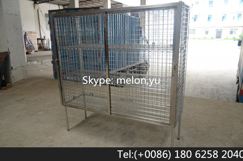 Square Wire Shelving | Stainless Steel 304 Sliding Door Wire Shelving Security Cage Rack