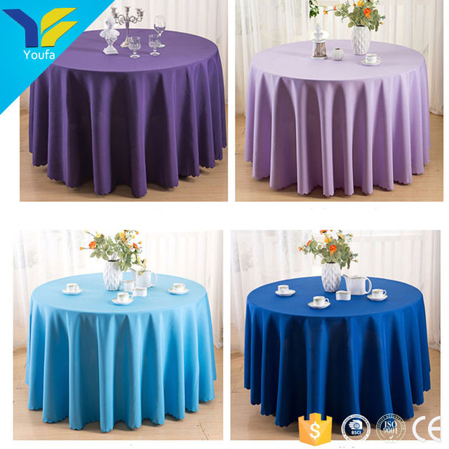 Hotel Restaurant Table Linens Plain 90 Inch Polyester Wedding Round  Tablecloth