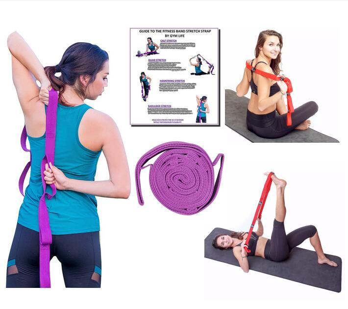 Stretching Strap with Loops AND 10 Quality Resistance Exercise Loop Bands Perfect Physical Therapy equipment