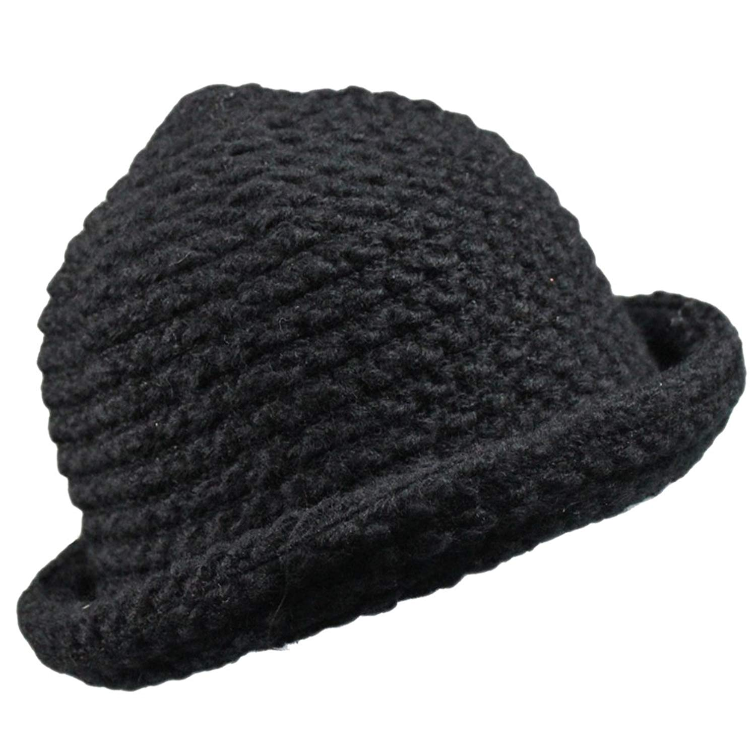 f9f3026f384 Get Quotations · Womens Winter Warm Knitted Fishmen Cloche Round Top Bucket  Hat Cap Roll-up Brim