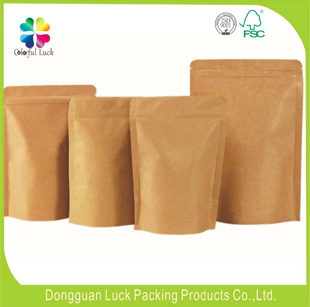 Food industrial use and bidegradable food packaging zip lock murah kraft paper bag