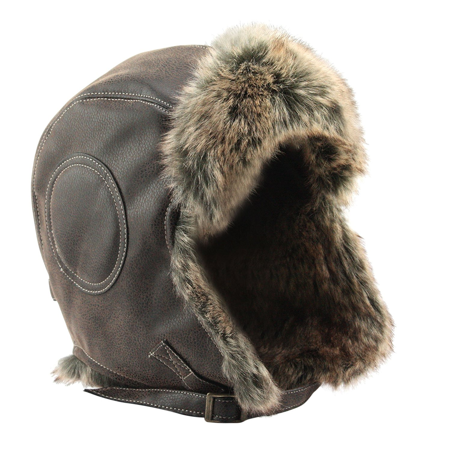 9736b04b74af1 Get Quotations · Global Vasion Winter Hat Fur Leather Trapper Pilot Bomber  Hat with Ear Flap Chin Strap for