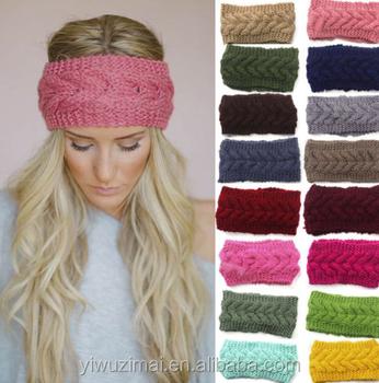 Nieuwe Wol Haak Vrouwen Hoofdband Hoofd Gevlochten Winter Warm Knit