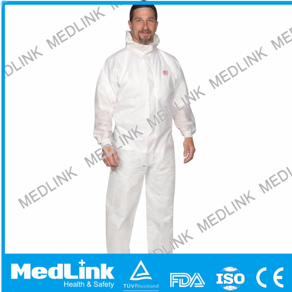 disposable hooded coverall with elastics on the waist and ankle