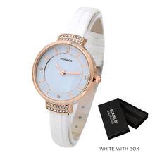 BOAMIGO Модные женские кварцевые часы с кожаным ремешком Роскошные Брендовые женские часы со стразами женские белые Наручные часы Relojes(China)