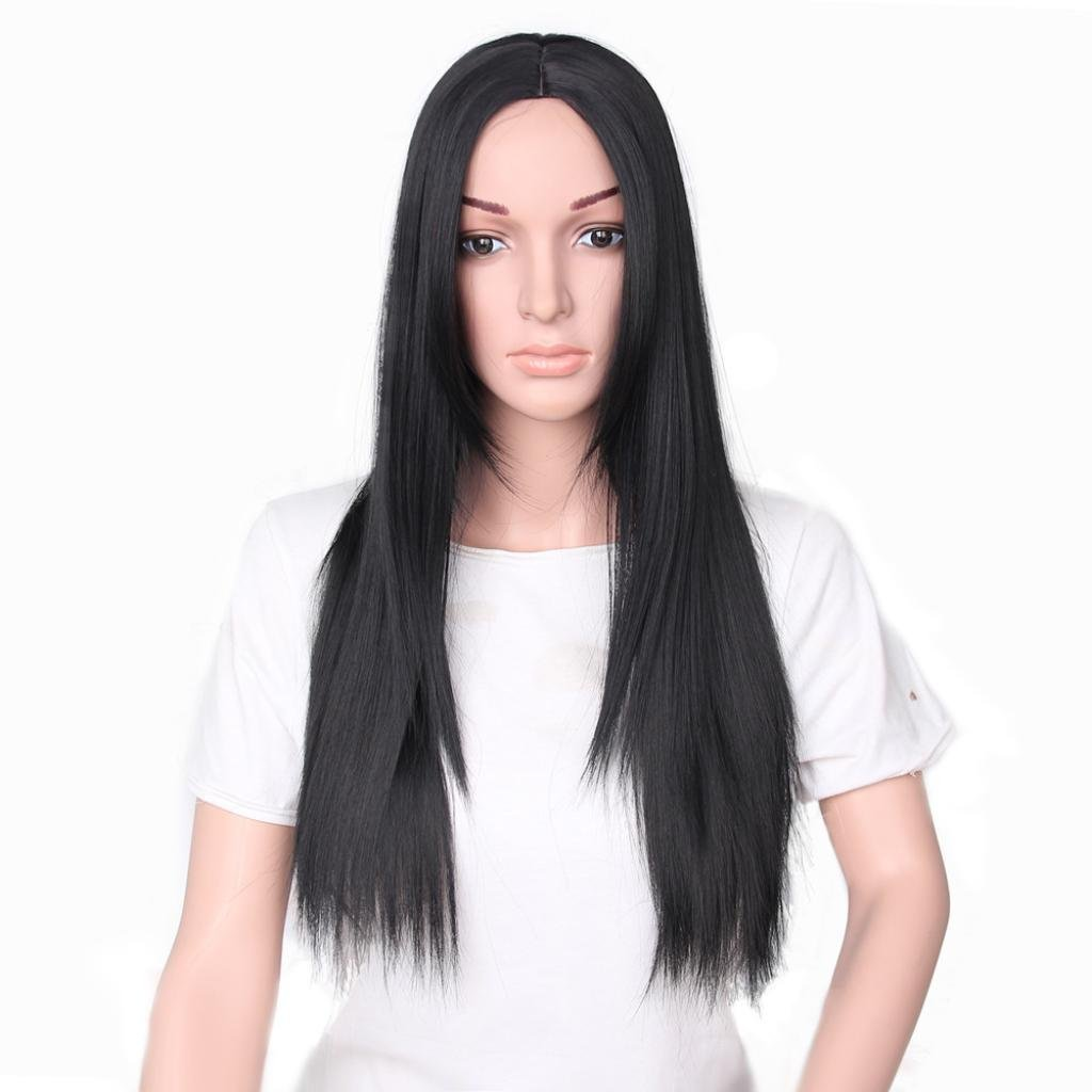 Emubody 25 inches Women Fashion Lady Long Straight Neat Middle Part Hair Cosplay Party Wig Black long straight hair wig