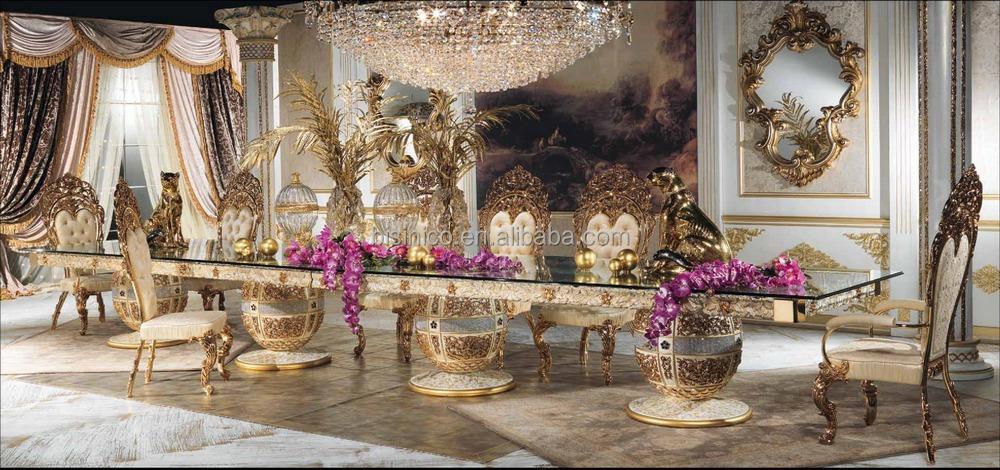 Luxe style de design italien laiton et bois salle à manger meubles palais baroque style marqueterie 6 metros longue table à manger buy 6 metros longue