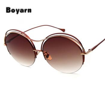 01adc7f8c28 Vintage Round Big Oversized lens Mirror Brand Designer Pink Sunglasses lady  cool retro UV400 Women Sunglasses