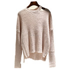 Top sale thin spring pullover with split at neck and hem new design women sweater