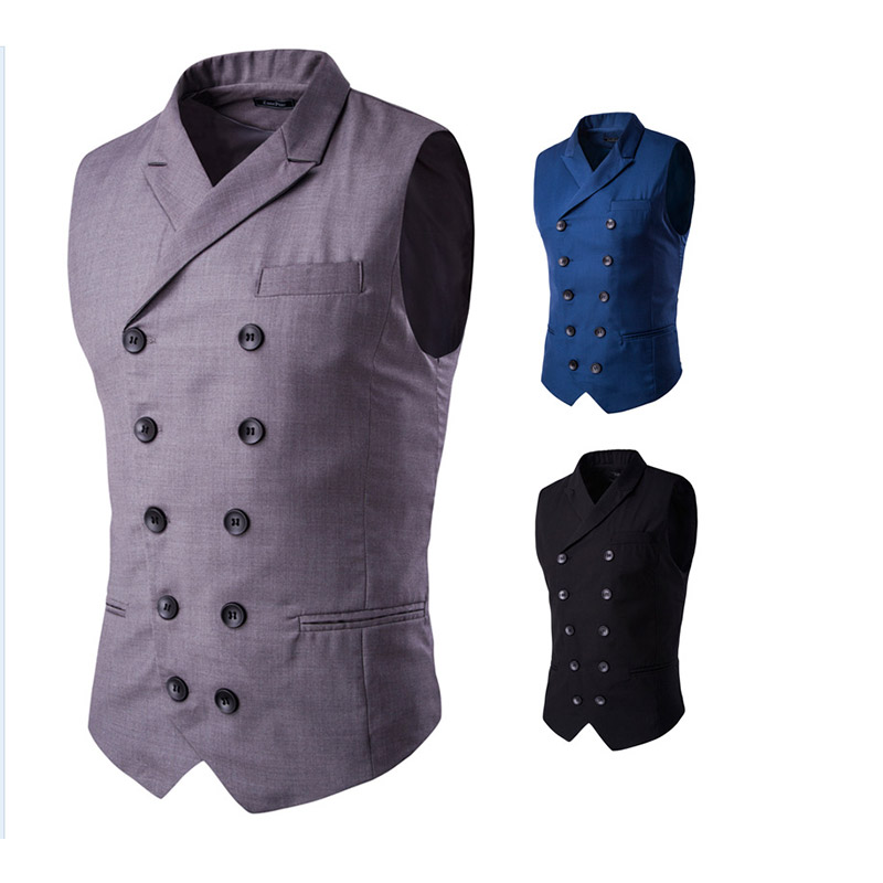 Brief Fashion Gentleman Gilet Double Breasted Suit Collar Men's Casual Vest