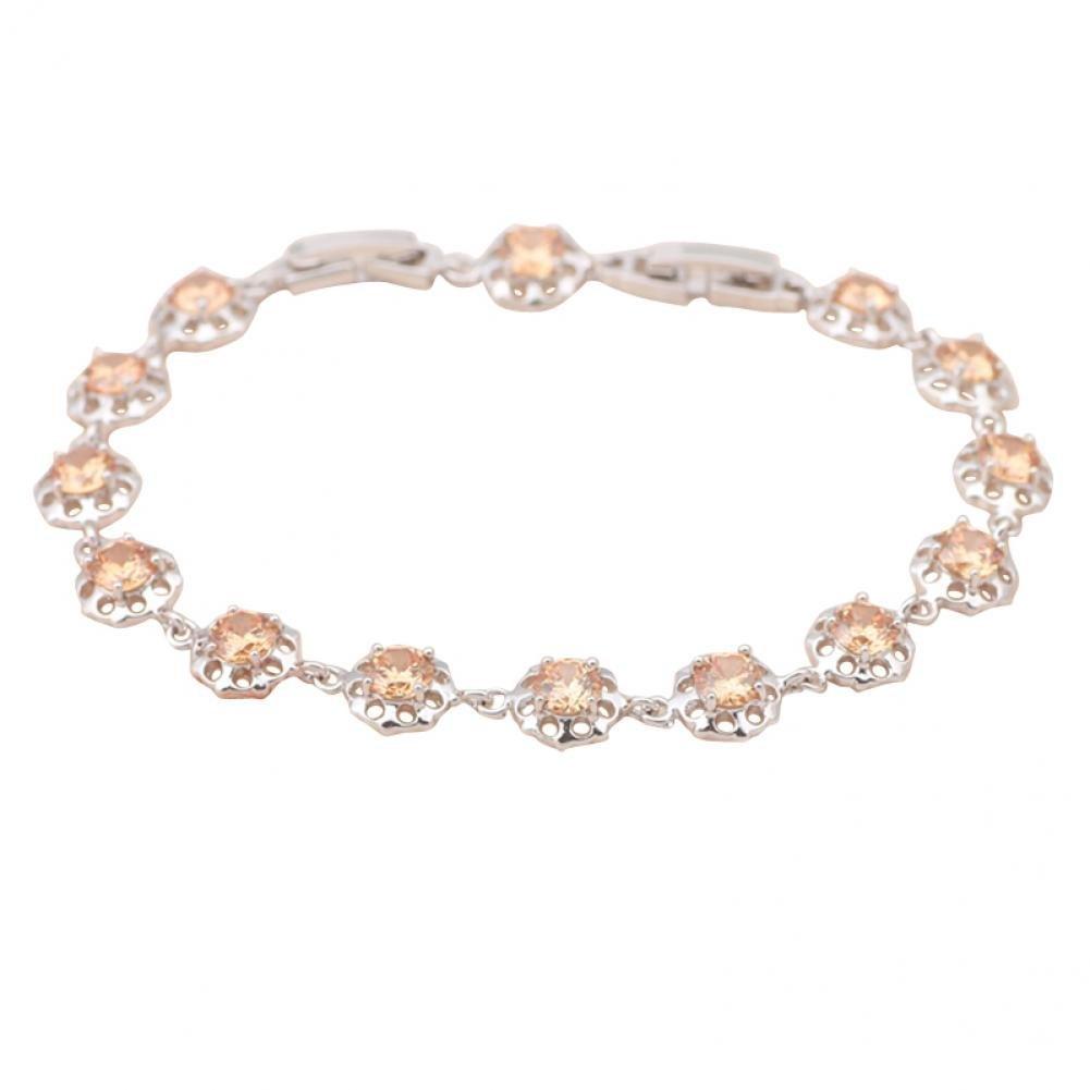 Christmas Jewelry Gifts Jewelry Morganite Best Charm Bracelets Champagne Zirconia Inlay Silver Filled Fine Jewelry Tb659A