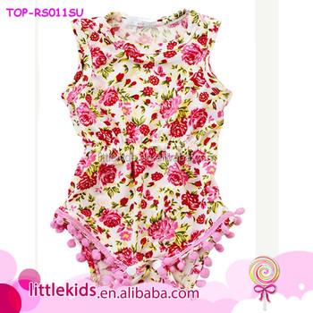 b8682a472205 Cute Tamil Girls Images Baby Kids Girls Smocked bright Flower Sleeveless bubble  Romper Onesie Pom Pom