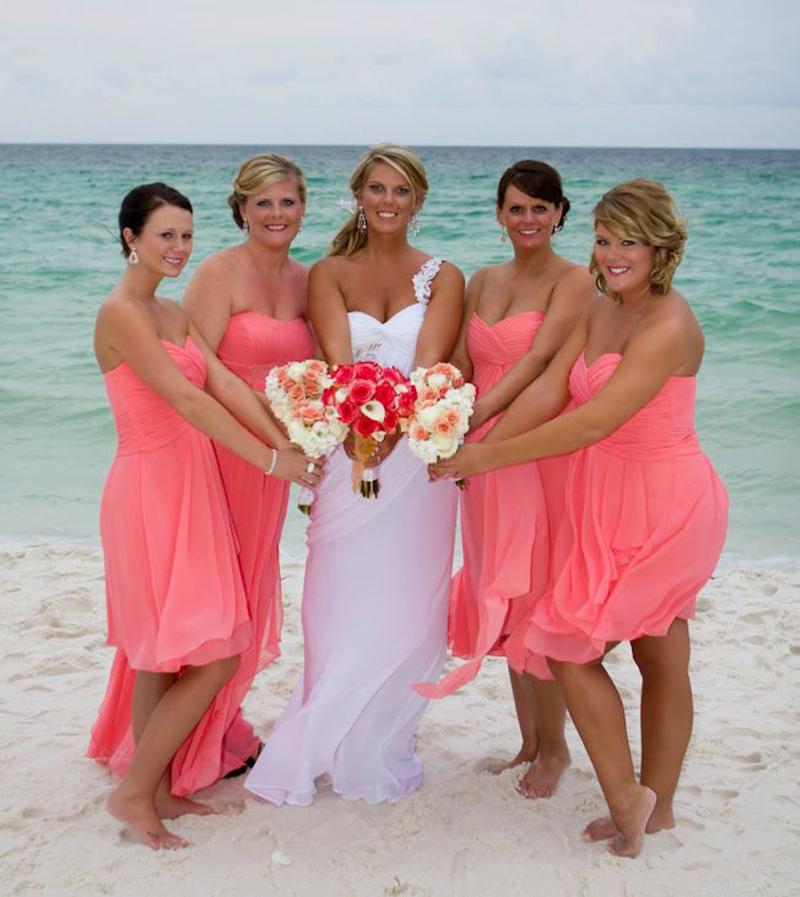 New Summer Beach Wedding Bridesmaid Dresses Short Above