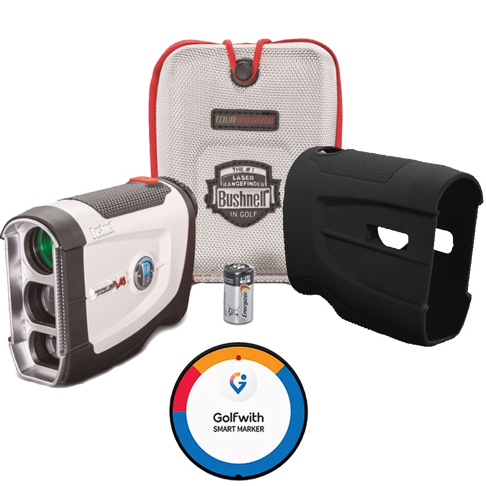 Bushnell BUNDLE Tour V4 Golf Laser Rangefinder + Golfwith Smart Ball Marker GPS + CR2 Battery + Silicon Skin Golf GPS Complete Solution!