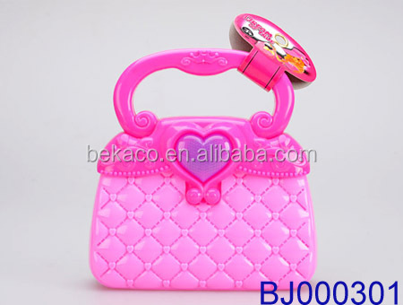 Fashion Design Plastic S Toy Makeup Pouch Cute Pink Led Light Jewelry Purse
