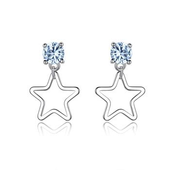 RIVSE13 Drop Shipping Sterling Silver Jewelry CZ Star Shaped Stud Earring