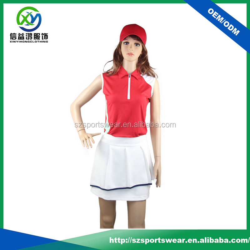wholesale fashion golf apparel dry fit sleeveless zipper golf polo shirts for lady