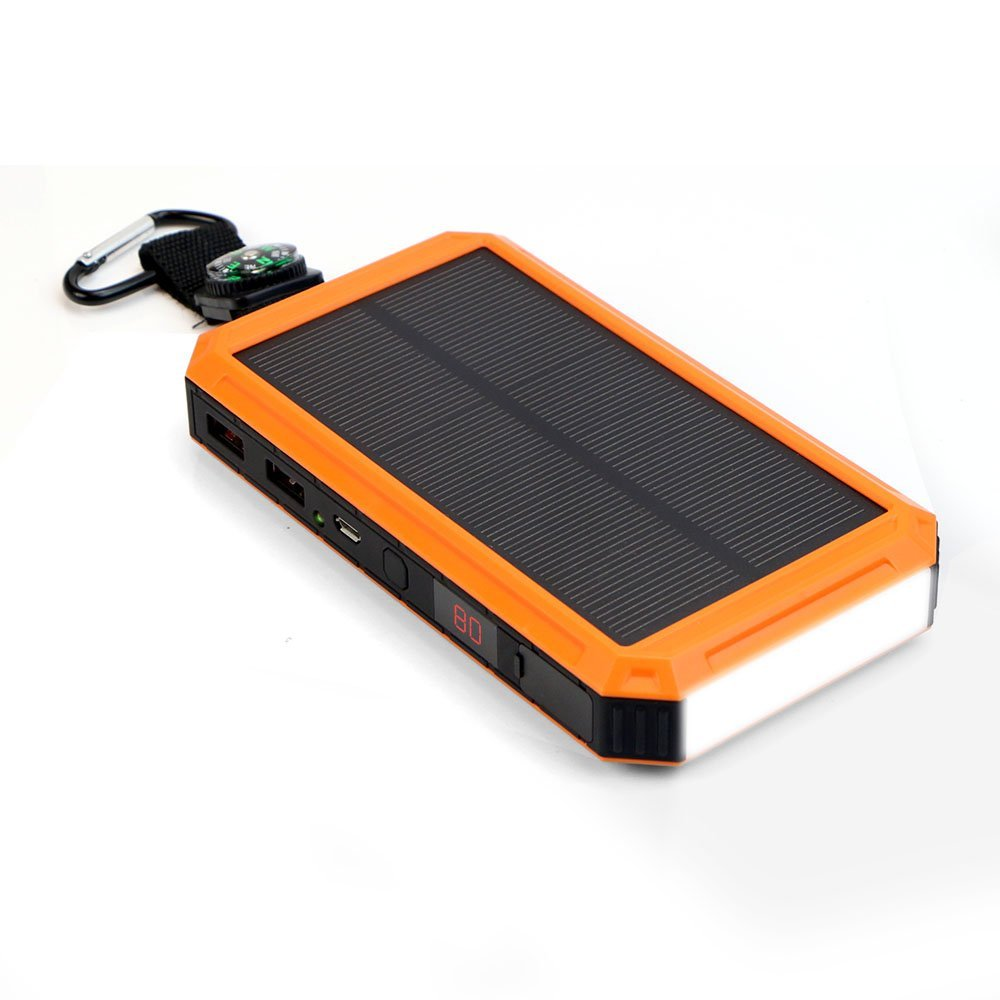 Waterproof Ganda USB Baterai Eksternal 24000 mAh Energi Surya Power Bank