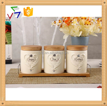Ceramic Porcelain Canister Set Tea Sugar Coffee Jar Air