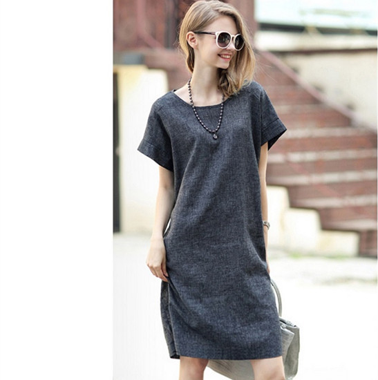 0f2e5f189b697 Get Quotations · 2015 Europe Style Summer Dress Women Short Sleeve Solid  Grey Linen Dress Plus Size Significantly Thin