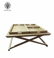 Vintage Wooden Coffee Table With Drawers