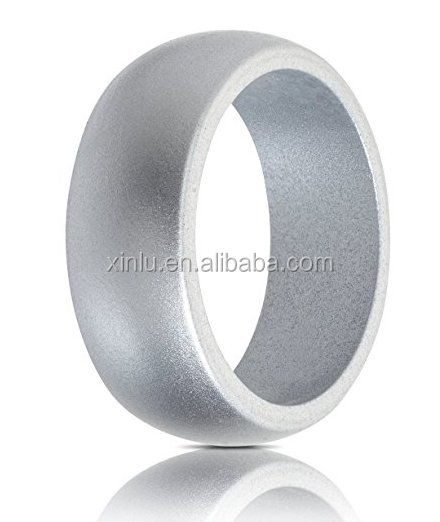 Simple style silicone wedding ring <strong>silver</strong> in work
