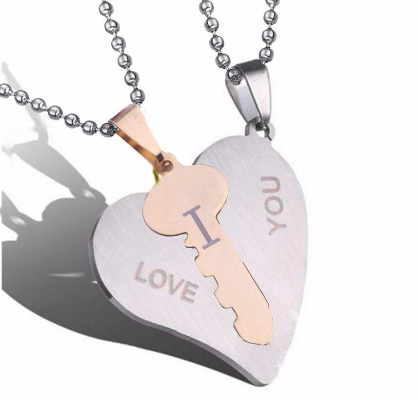 I love you pendants couple pendant necklaces heart key pendant g aloadofball Image collections