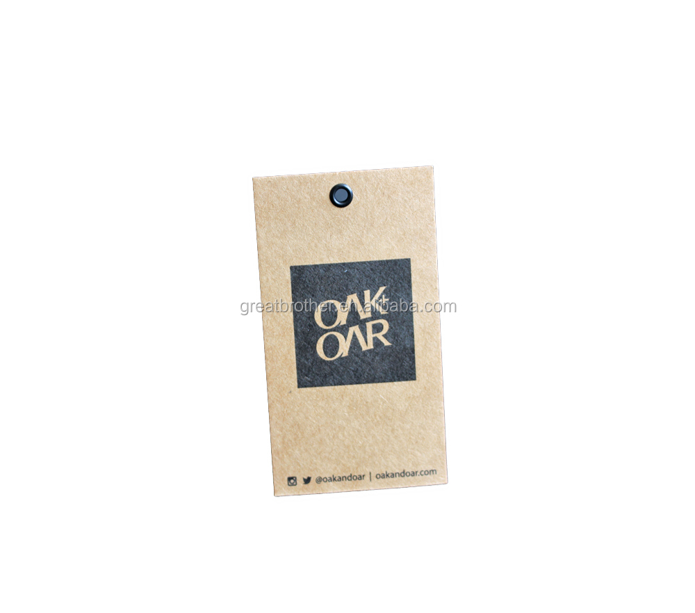 Factory price low MOQ/white cardstock hang tag with black printing for shoes/clothing