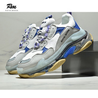 2019 new high quality top fashion brands BAL blue Triple S Clear Sole Sneakers air sole shoes eu38 eu41