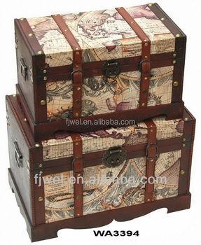 olde worldmap wooden treasure chest