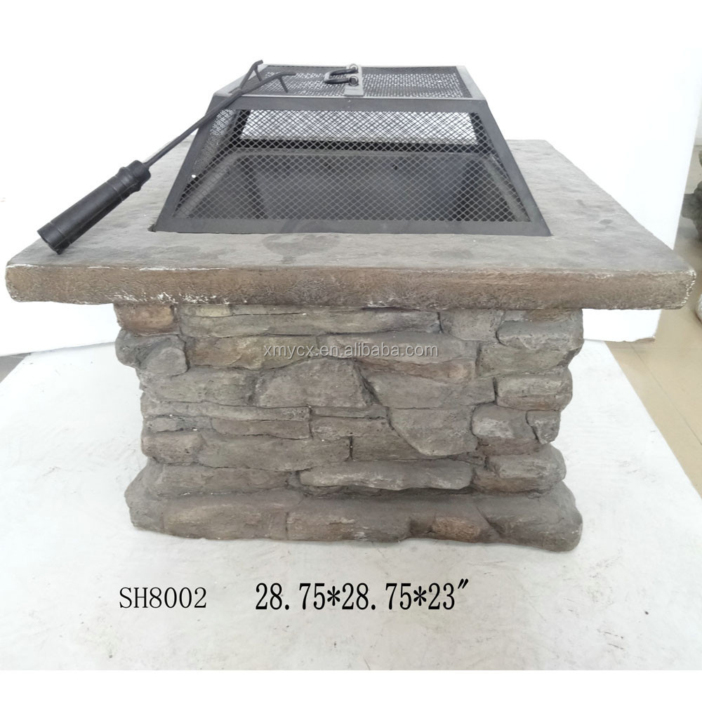 Fiberglass decorative square outdoor brazier