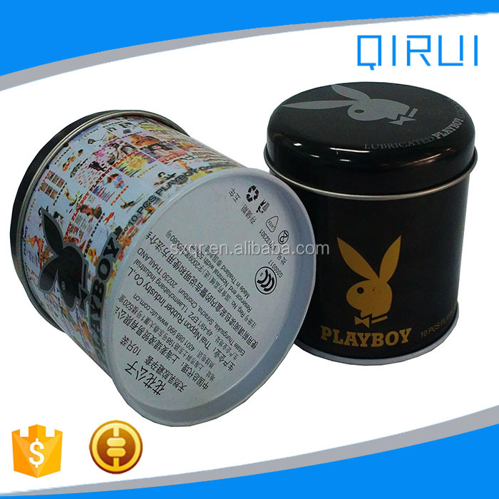 New design round tin box for ten pack condoms ten pack