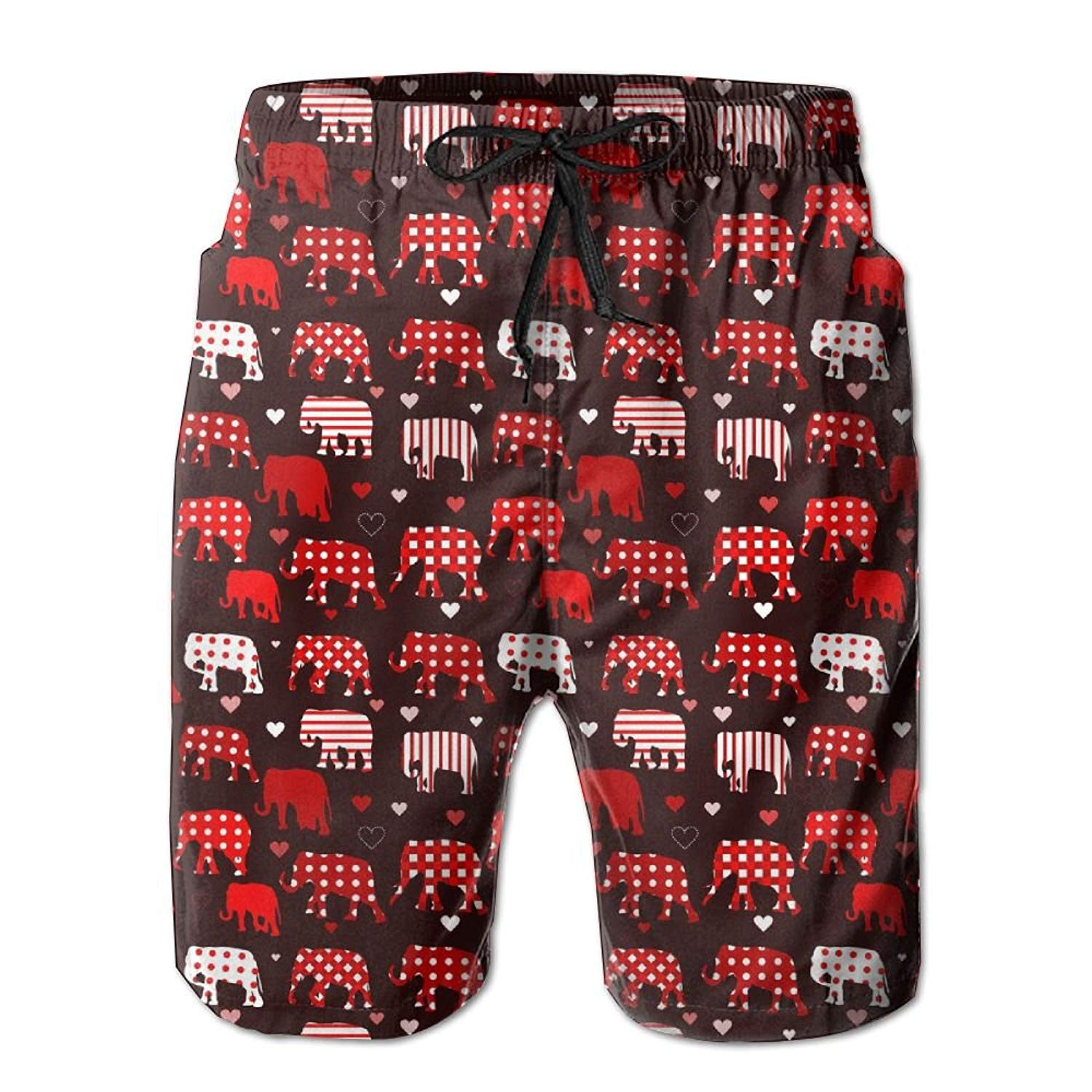 ca5d63c4ff Get Quotations · Vt9RE1k Men's Red Striped Spotted Elephant Swim Trunks  Beach Elastic Shorts Cotton Pocket Loose Shorts