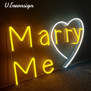 Romantic Marry me proposal yellow LED flex neon light signs custom for home decor