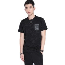 fitness apparels cotton printed black t shirt for men