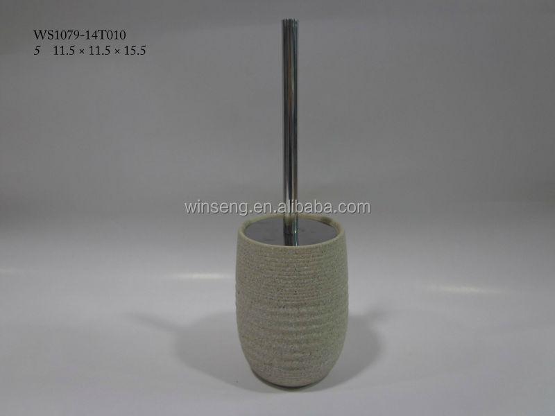 Ceramic Cream Marble Toilet Brush Holder Product On
