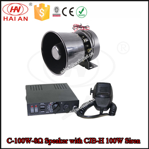 100W Outdoor Car Siren speaker/Round Lound Alarm Siren Horn for Truck/Black Electronic Siren Trumpet C-100W