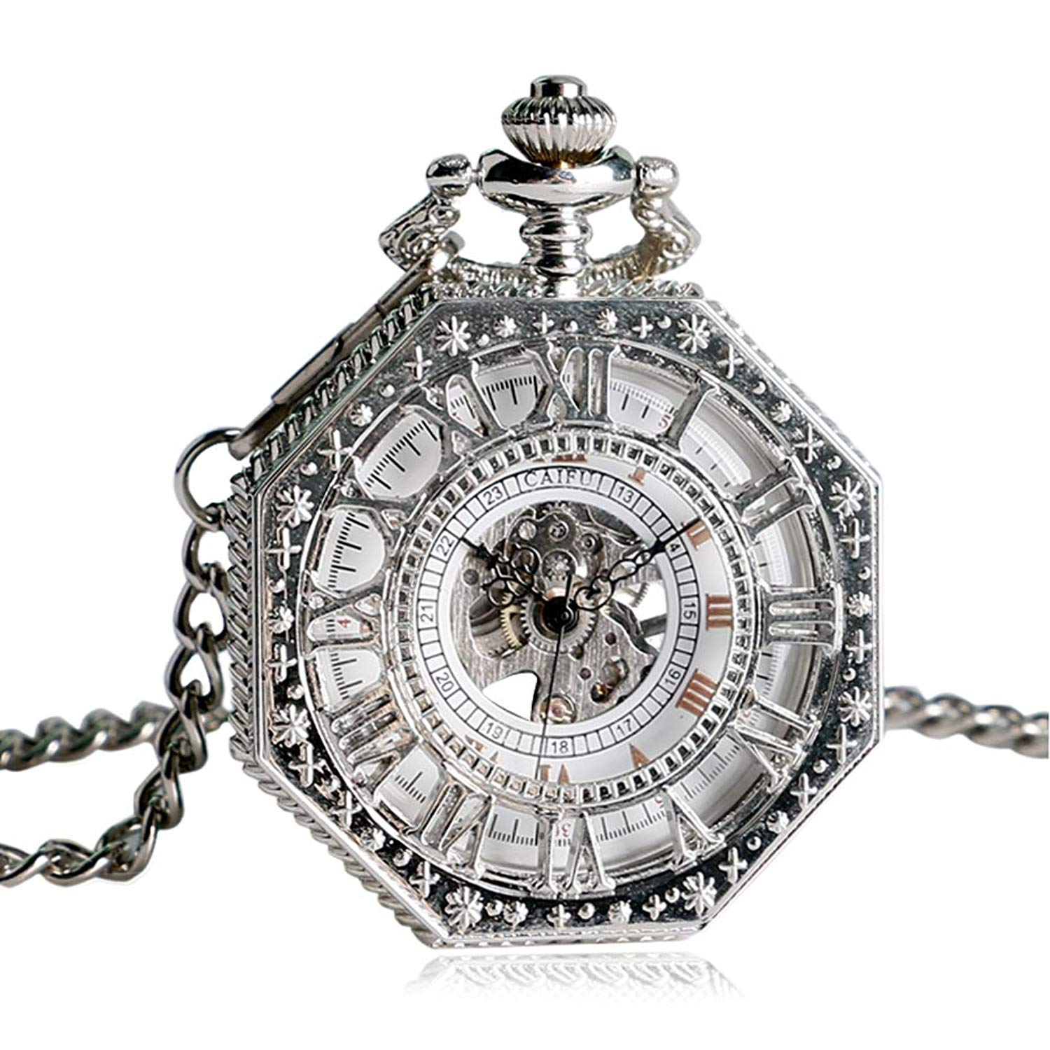 3a59b687e Get Quotations · Vintage Pocket Watch, Hand Winding Mechanical Pocket Watch  for Men, Silver Octagon Shape Skeleton